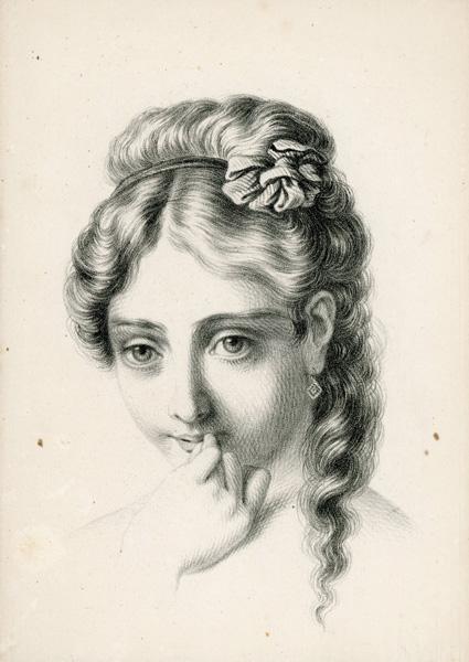 Grafika przedstawiająca portret młodej dziewczyny wykonana została w technice litografii z połowy XIX wieku przez nieznanego artystę.