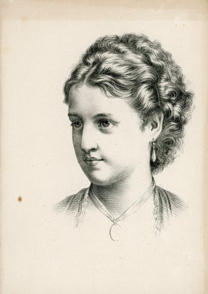 Grafika przedstawiająca portret młodej dziewczyny wykonana została w technice litografii w połowie XIX wieku przez nieznanego artystę.