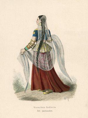 Oryginalna grafika przedstawiająca strój indyjskiej dziewczyny w XV wieku