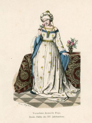 Oryginalna grafika przedstawiająca strój niemieckiej dziewczyny z drugiej połowy XV wieku