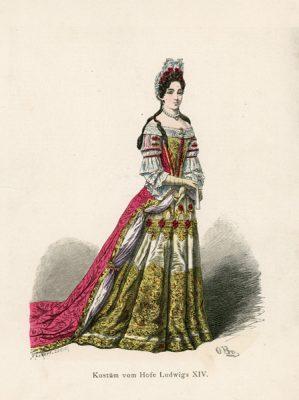 Oryginalna grafika przedstawiająca strój damy dworu Ludwika XIV