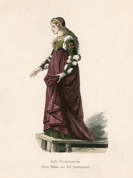 Grafika przedstawiająca strój damy Weneckiej z I poł XV w