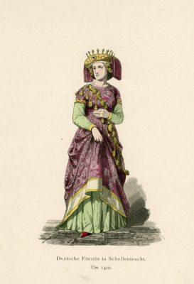 Oryginalna grafika przedstawiająca strój niemieckiej księżniczki z początku XV wieku