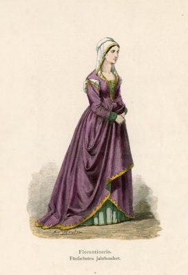 Oryginalna grafika przedstawiająca dame z Florencji w stroju z XV wieku