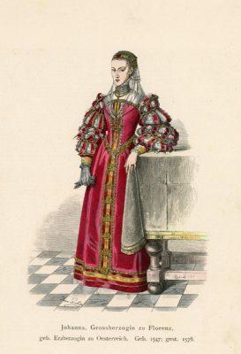 Oryginalna grafika przedstawiająca księżna Joannę z Florencji w stroju z XVI wieku