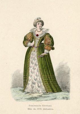 Grafika przedstawiająca Francuska szlachcianka w stroju z połowy XVII w.