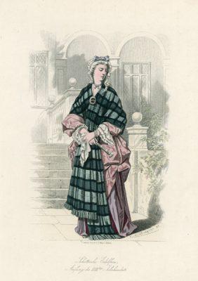 Oryginalna grafika przedstawiająca szkocką szlachciankę w stroju z początku XVIII w.