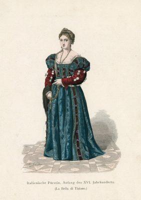 Oryginalna grafika przedstawiająca muzę Tycjana - włoską księżniczkę w stroju z początku XVI w