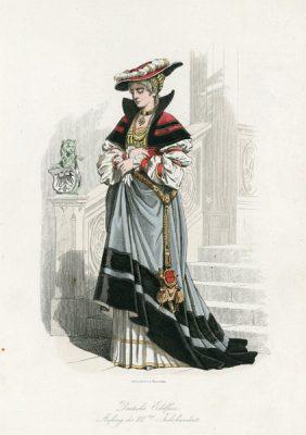 Grafika przedstawiająca niemiecką szlachciankę w stroju z początku XVI w