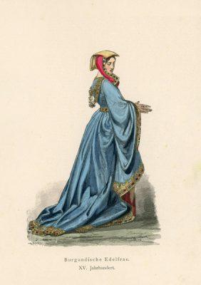 Grafika przedstawiająca burgundzką damę w stroju z XV w
