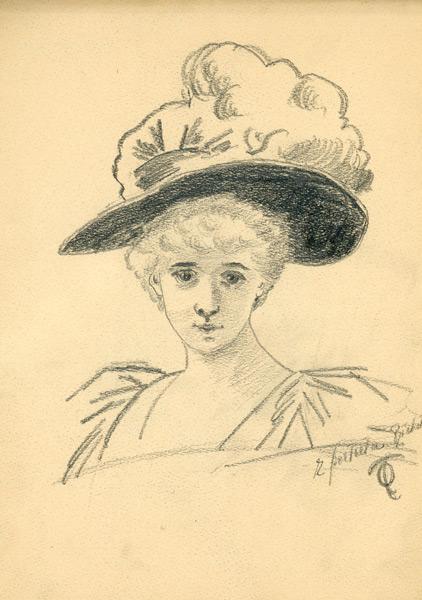 Portret przedstawiający dziewczynę w kapeluszu autorstwa Olgi Tlachny wykonany ołówkiem na papierze na początku XIX wieku.