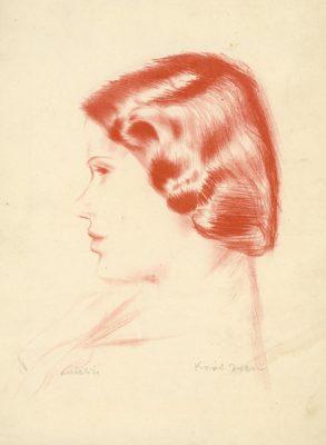 Portret przedstawiający młodą kobietę autorstwa Zygmunta Króla wykonany w technice autolitografii na papierze w połowie XX wieku.