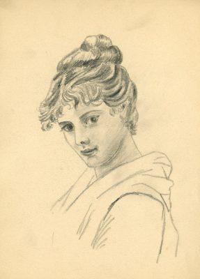 Portret przedstawiający młodą kobietę autorstwa Olgi Tlachny wykonany ołówkiem na papierze na początku XIX wieku.