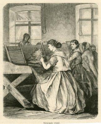 Grafika z ok 1880 r. przedstawiająca kobiety skręcające cygara w fabryce tytoniu. Grafika wykonana w technice drzeworytu sygnowana jest w lewym dolnym rogu XP.