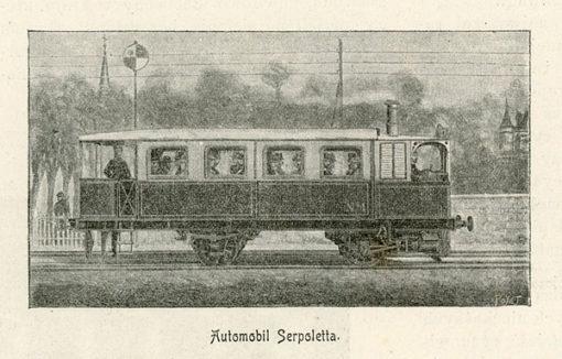 Grafika reprodukcyjna z 1898 r. przedstawiająca lokomotywę o sile 15 KM wynalezioną przez Leona Sarpoletta.
