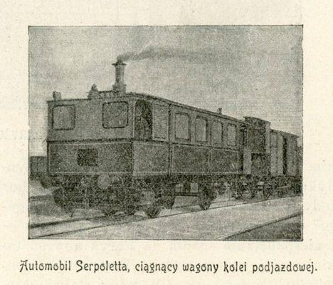 Grafika reprodukcyjna z 1898 r. przedstawiająca lokomotywę o sile 15 KM ciągnącą wagony kolei podjazdowej
