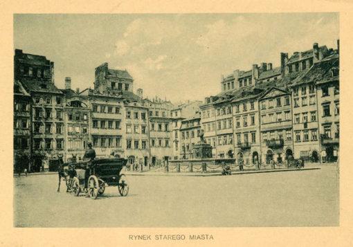 Oryginalny światłodruk z początku XX w. przedstawiający Rynek Starego Miasta w Warszawie. Ok. 1910.
