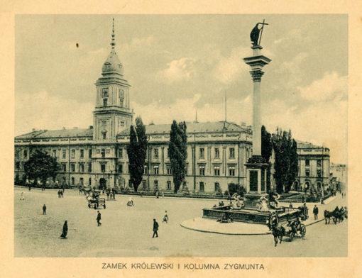 Oryginalny światłodruk z początku XX w. przedstawiający Zamek Królewski i Kolumnę Zygmunta w Warszawie. Ok. 1910.