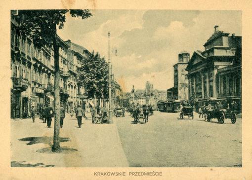 Oryginalny światłodruk z początku XX w. przedstawiający Krakowskie Przedmieście w Warszawie. Ok. 1910.