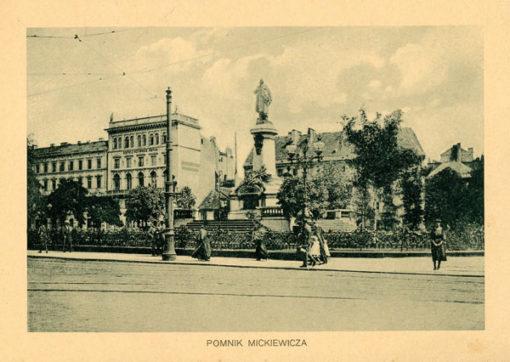 Oryginalny światłodruk z początku XX w. przedstawiający pomnik Mickiewicza na Krakowskim Przedmieściu w Warszawie. Ok. 1910.