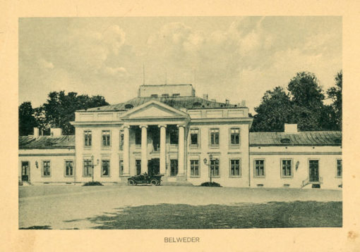 Oryginalny światłodruk z początku XX w. przedstawiający widok na Belweder w Warszawie. Ok. 1910.