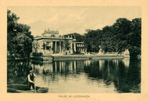 Oryginalny światłodruk z początku XX w. przedstawiający widok na Pałac na Wodzie w warszawskich Łazienkach. Ok. 1910.