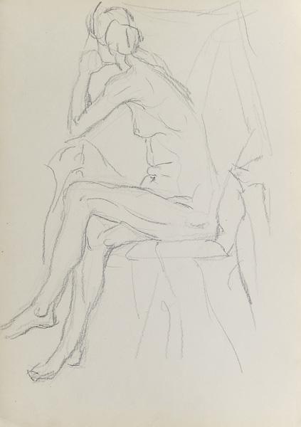 Rysunek akademicki przedstawiający nagą siedzącą kobietę