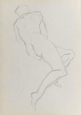 Rysunek akademicki przedstawiający nagą kobietę