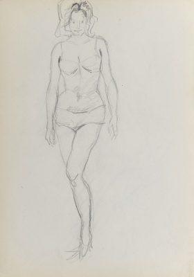 Rysunek akademicki przedstawiający półnagą kobietę w pozycji stojącej