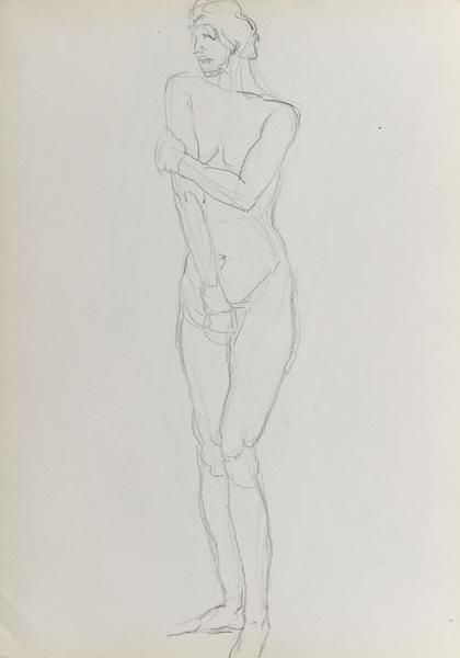 Rysunek akademicki przedstawiający nagą kobietę w pozycji stojącej