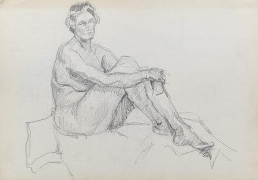 Rysunek akademicki przedstawiający nagą kobietę w pozycji siedzącej