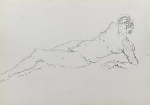 Rysunek akademicki przedstawiający nagą kobietę w pozycji leżącej