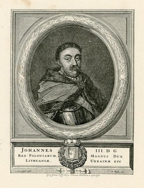 Grafika przedstawiająca popiersie króla Jana III Sobieskiego wykonana w technice cynkografii na przełomie XIX i XX wieku wg Pietera Stevensa van Gunsta.