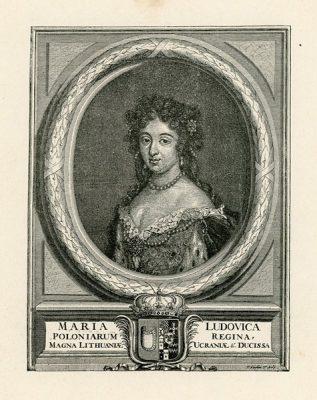 Grafika przedstawiająca popiersie żony króla Jana III Sobieskiego wykonana w technice cynkografii na przełomie XIX i XX wieku wg Pietera Stevensa van Gunsta.