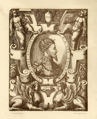 Grafika przedstawiająca popiersie króla Zygmunta Augusta wykonana w technice fotolitografii pod koniec XIX w. Fotolitografował M Zadrazil; odbijał M.Salba w Krakowie.
