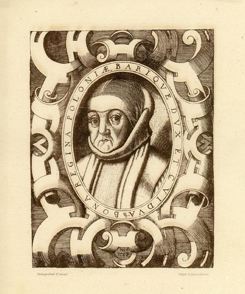 Grafika przedstawiająca popiersie królowej Bony wykonana w technice fotolitografii pod koniec XIX w. Fotolitografował M Zadrazil; odbijał M.Salba w Krakowie.