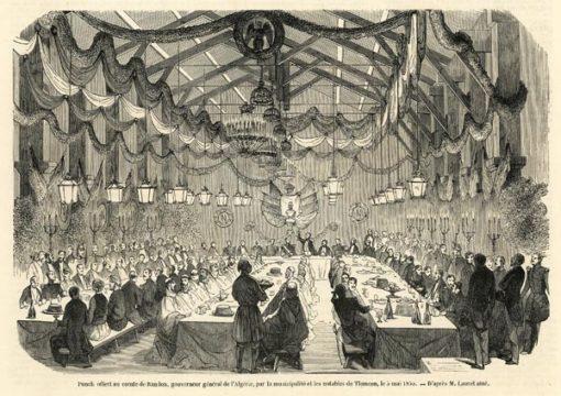 Oryginalny drzeworyt z przedstawieniem uczty w Tlemcen (Algieria) zorganizowanej dla księcia Randon w 1855 r. Drzeworyt wg rysunku M. Lauret