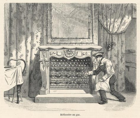 Oryginalny drzeworyt z przedstawiający piec gazowy w formie kominka w francuskiej restauracji w połowie XIX w.