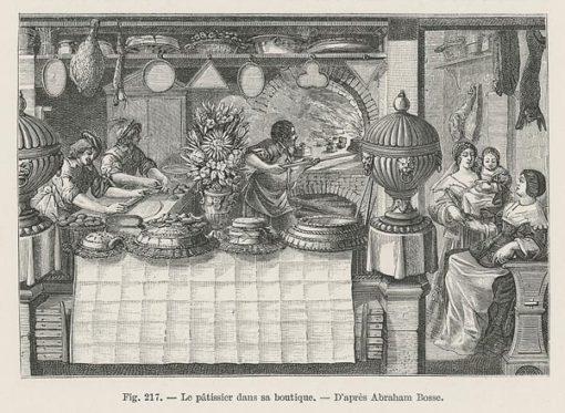 Oryginalny drzeworyt z przedstawiający francuską piekarnię i piekarza wypiekającego ciasta. Grafika powstała ok 1860 r. wg rysunku Abrahama Bosse