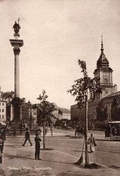 Oryginalna grafika w technice światłodruku z początku XX w. przedstawiająca pomnik Króla Zygmunta na Placu Zamkowym w Warszawie. 1914 rok.