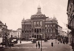 Oryginalna grafika w technice światłodruku z początku XX w. przedstawiająca Pomnik Kopernika z widokiem na b. pałac Staszica w Warszawie. 1914 rok.