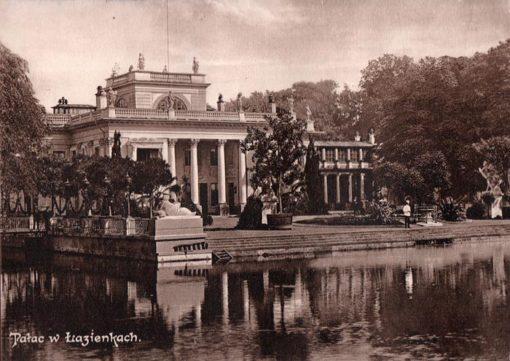Oryginalna grafika w technice światłodruku z początku XX w. przedstawiająca Pałac w Łazienkach w Warszawie. 1914 rok.