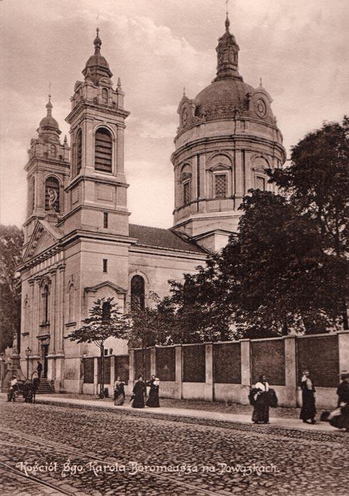 Oryginalna grafika w technice światłodruku z początku XX w. przedstawiająca Kościół Św. Karola Boromeusza na Powązkach w Warszawie. 1914 rok.