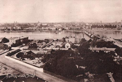 Oryginalna grafika w technice światłodruku z początku XX w. przedstawiająca panoramę Pragi. 1914 rok.