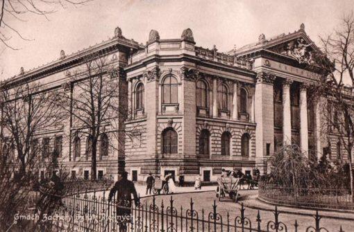 Oryginalna grafika w technice światłodruku z początku XX w. przedstawiająca budynek Zachęty w Warszawie. 1914 rok.