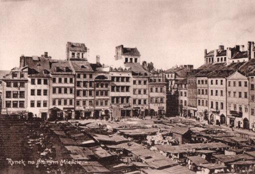 Oryginalna grafika w technice światłodruku z początku XX w. przedstawiająca Rynek na Starym Mieście (Starówka) w Warszawie. 1914 rok.