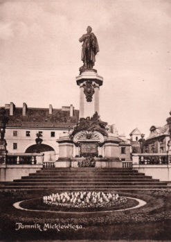 Oryginalna grafika w technice światłodruku z początku XX w. przedstawiająca Pomnik Mickiewicza na Krakowskim Przedmieściu w Warszawie. 1914 rok.