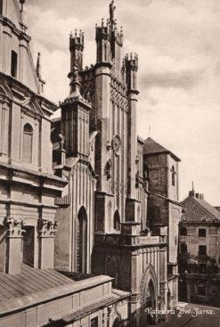 Oryginalna grafika w technice światłodruku z początku XX w. przedstawiająca Katedrę św. Jana w Warszawie przed zniszczeniami wojennymi. Grafika pochodzi z 1914 roku.