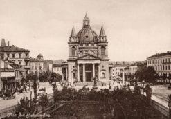 Oryginalna grafika w technice światłodruku z początku XX w. przedstawiająca Plac św. Aleksandra w Warszawie (Dziś Plac Trzech Krzyży). Grafika pochodzi z 1914 roku.
