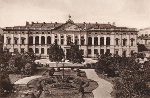 Oryginalna grafika w technice światłodruku z początku XX w. przedstawiająca barokowy pałac Krasińskich w Warszawie (Dziś siedziba Biblioteki Narodowej). Grafika pochodzi z 1914 roku.
